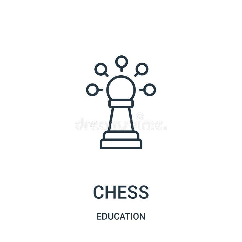 vector del icono del ajedrez de la colecci?n de la educaci?n L?nea fina ejemplo del vector del icono del esquema del ajedrez ilustración del vector