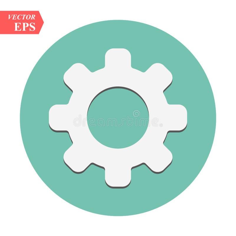 Vector del icono del ajuste, herramientas, diente, muestra del engranaje aislada en el fondo blanco Concepto de la cuenta de las  libre illustration