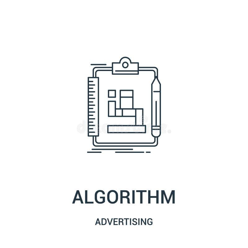 vector del icono del algoritmo de hacer publicidad la colección Línea fina ejemplo del vector del icono del esquema del algoritmo ilustración del vector