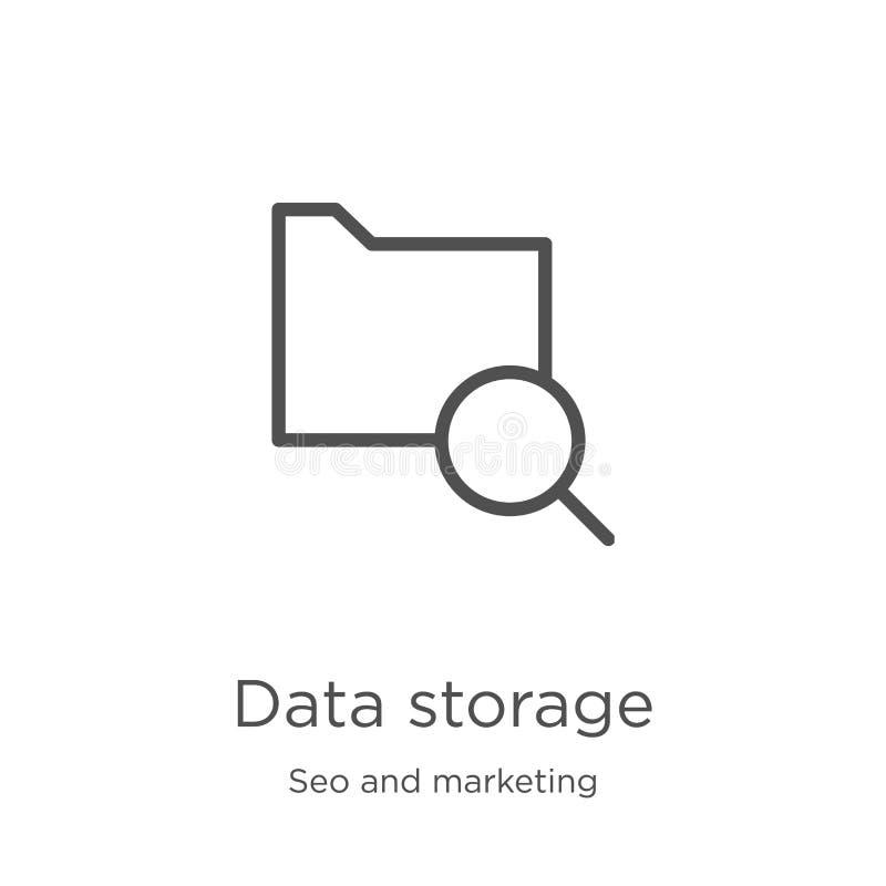 vector del icono del almacenamiento de datos de la colecci?n del seo y del m?rketing L?nea fina ejemplo del vector del icono del  ilustración del vector