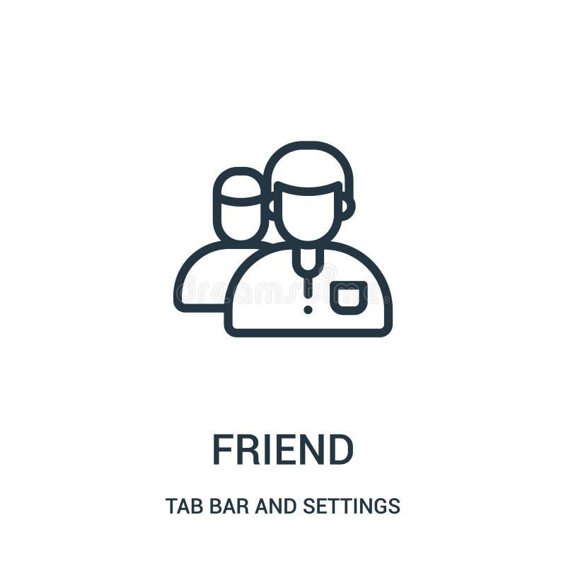 vector del icono del amigo de la barra de la etiqueta y de la colección de los ajustes Línea fina ejemplo del vector del icono de libre illustration