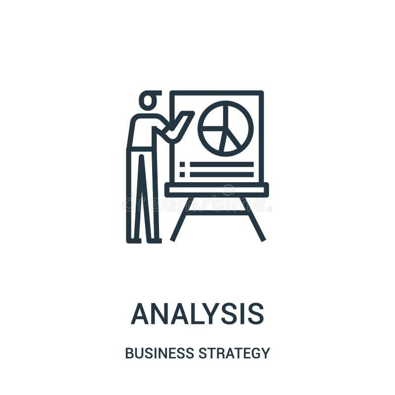 vector del icono del análisis de la colección de la estrategia empresarial L?nea fina ejemplo del vector del icono del esquema de libre illustration