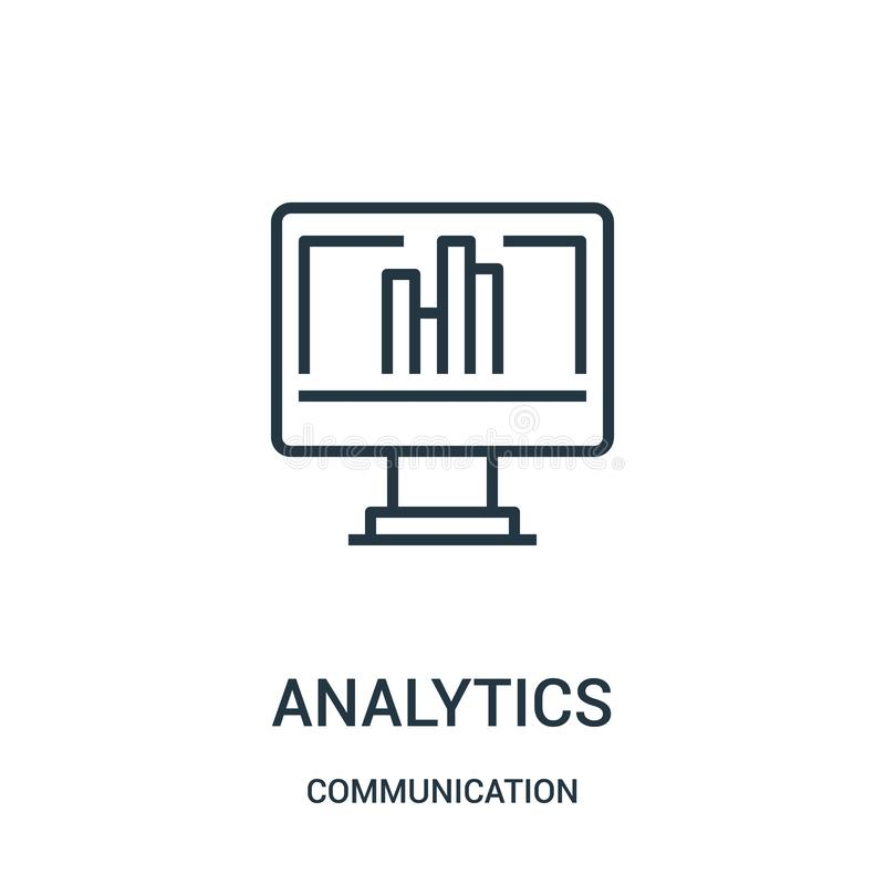 vector del icono del analytics de la colección de la comunicación Línea fina ejemplo del vector del icono del esquema del analyti stock de ilustración