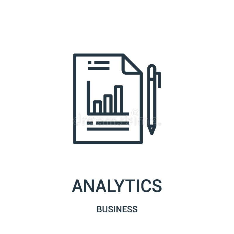 vector del icono del analytics de la colección del negocio Línea fina ejemplo del vector del icono del esquema del analytics Símb libre illustration
