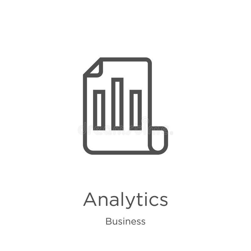 vector del icono del analytics de la colecci?n del negocio L?nea fina ejemplo del vector del icono del esquema del analytics Esqu stock de ilustración