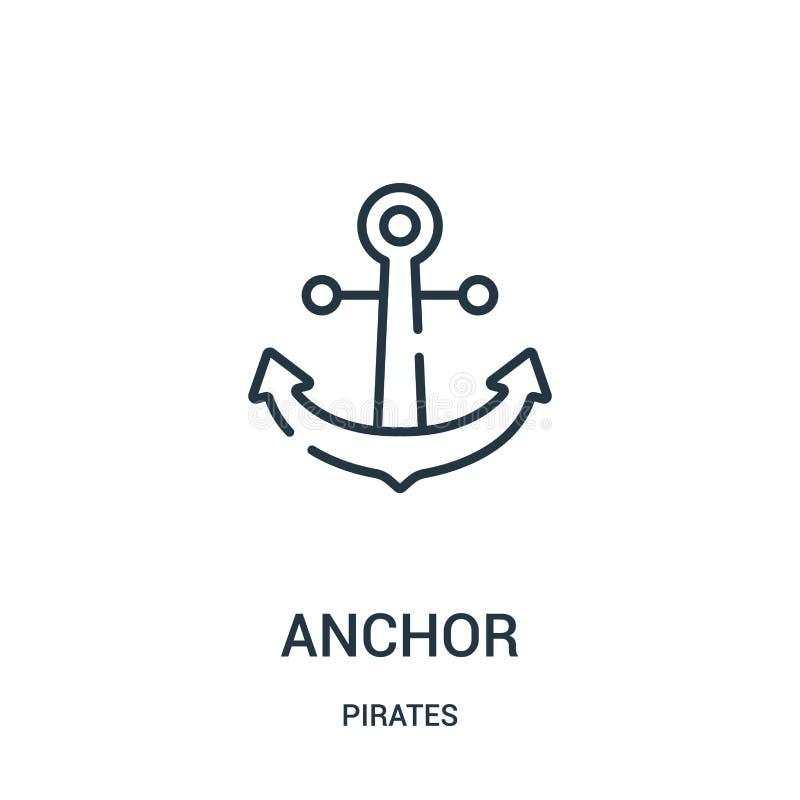 vector del icono del ancla de la colección de los piratas Línea fina ejemplo del vector del icono del esquema del ancla Símbolo l stock de ilustración