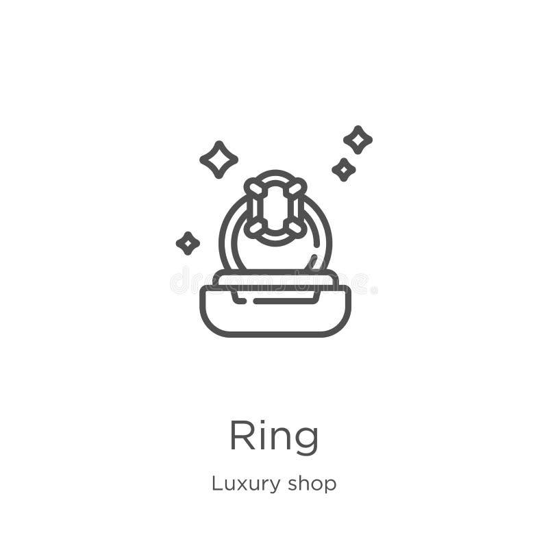 vector del icono del anillo de la colecci?n de lujo de la tienda L?nea fina ejemplo del vector del icono del esquema del anillo E stock de ilustración