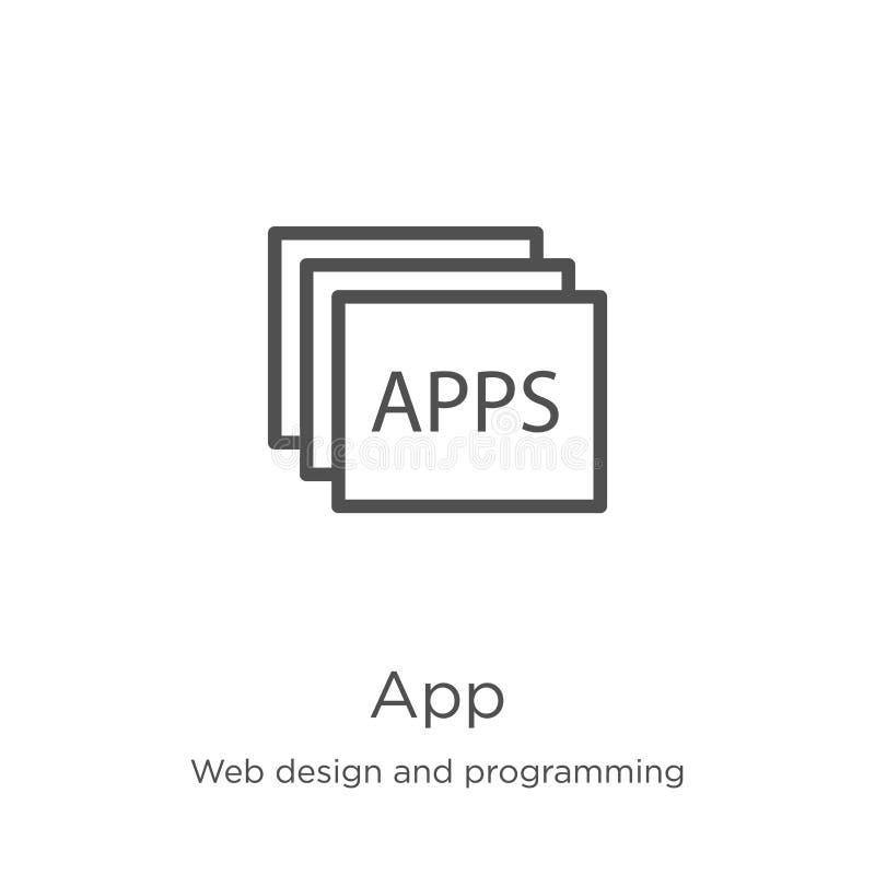 vector del icono del app del diseño web y de la colección programada L?nea fina ejemplo del vector del icono del esquema del app  stock de ilustración