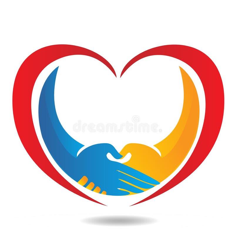 Vector del icono del apretón de manos y del corazón ilustración del vector