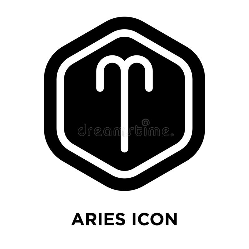 Vector del icono del aries aislado en el fondo blanco, concepto del logotipo de stock de ilustración