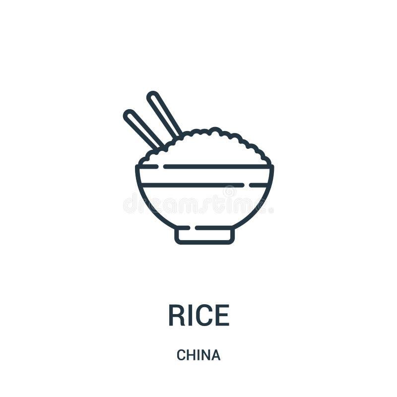 vector del icono del arroz de la colección de China Línea fina ejemplo del vector del icono del esquema del arroz Símbolo linear  libre illustration