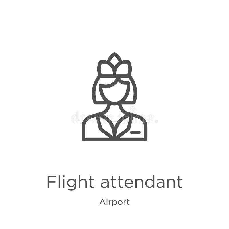 vector del icono del asistente de vuelo de la colección del aeropuerto L?nea fina ejemplo del vector del icono del esquema del as libre illustration
