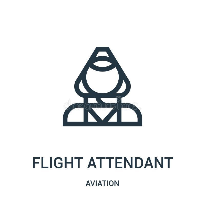 vector del icono del asistente de vuelo de la colección de la aviación Línea fina ejemplo del vector del icono del esquema del as libre illustration