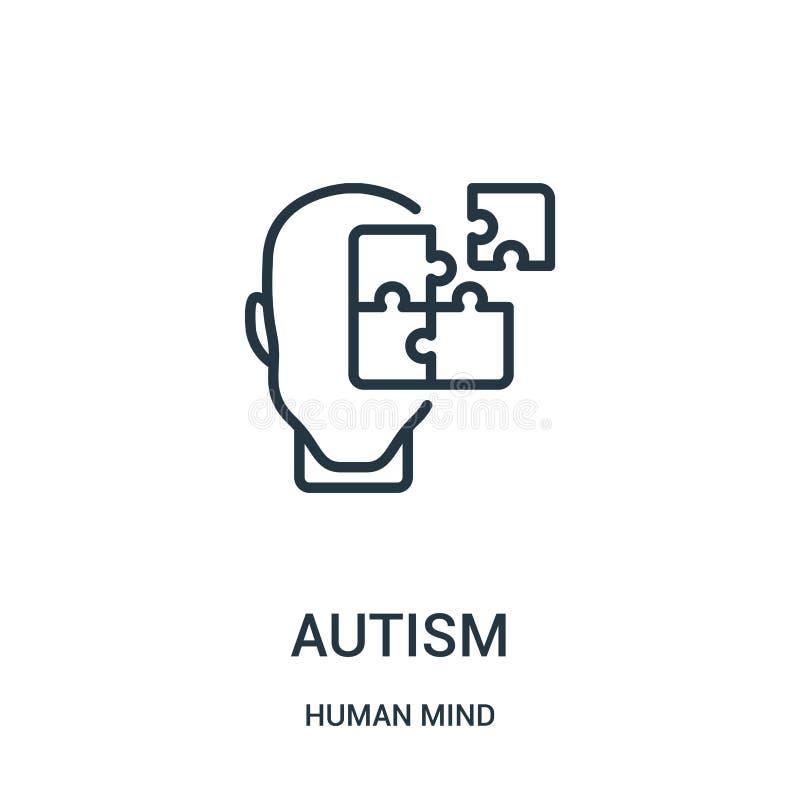 vector del icono del autismo de la colección de la mente humana Línea fina ejemplo del vector del icono del esquema del autismo S libre illustration