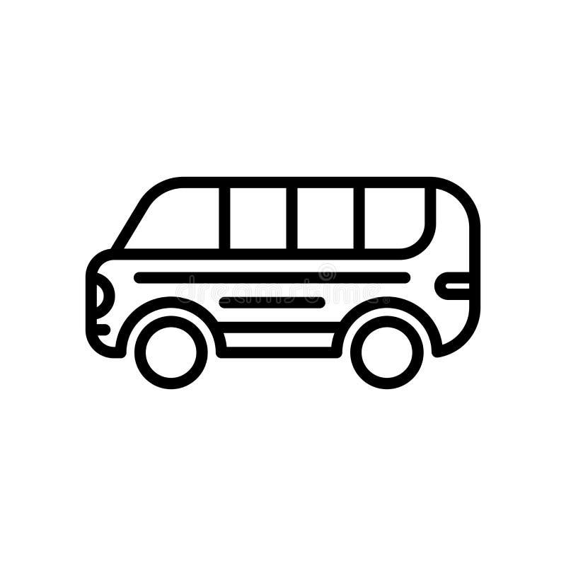 Vector del icono del autobús aislado en el fondo, la muestra del autobús, la línea y los elementos blancos del esquema en estilo  libre illustration