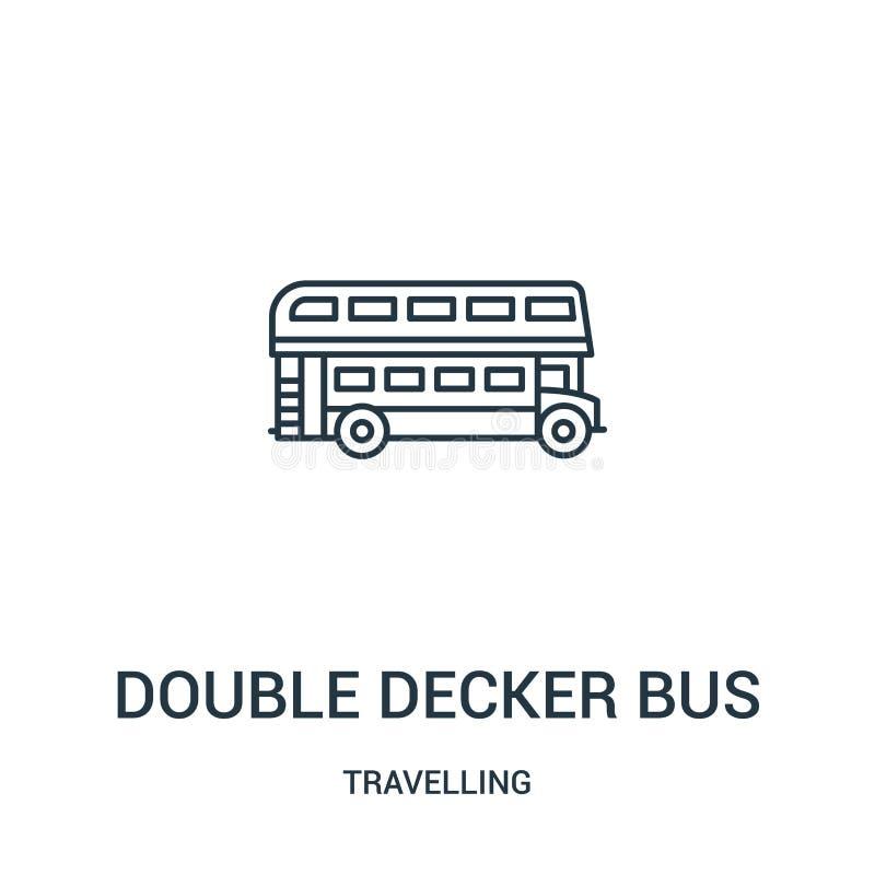 vector del icono del autobús del autobús de dos pisos de la colección que viaja Línea fina ejemplo del vector del icono del esque ilustración del vector