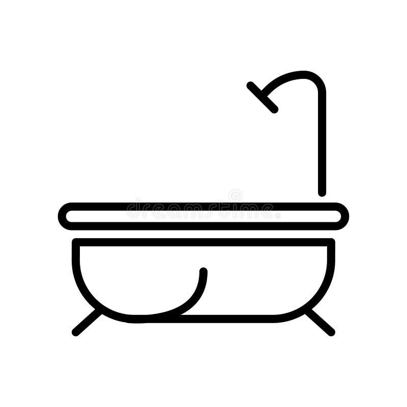 Vector del icono del baño aislado en el fondo, la muestra del baño, la línea y los elementos blancos del esquema en estilo linear stock de ilustración
