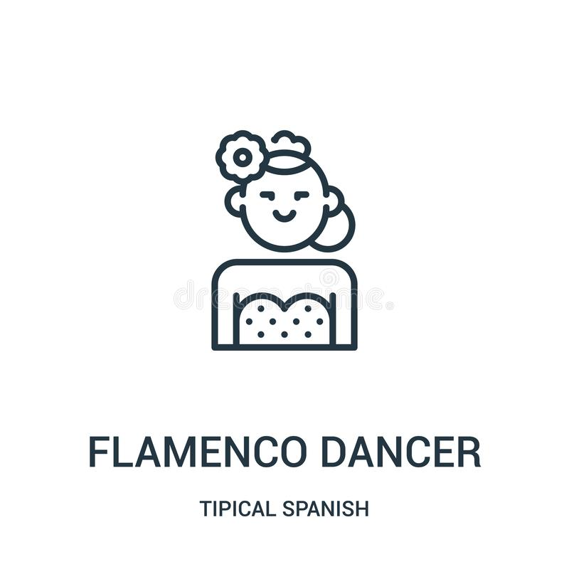 vector del icono del bailarín del flamenco de la colección española tipical Línea fina ejemplo del vector del icono del esquema d stock de ilustración