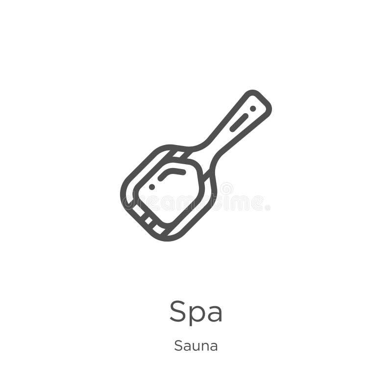 vector del icono del balneario de la colección de la sauna Línea fina ejemplo del vector del icono del esquema del balneario Esqu ilustración del vector