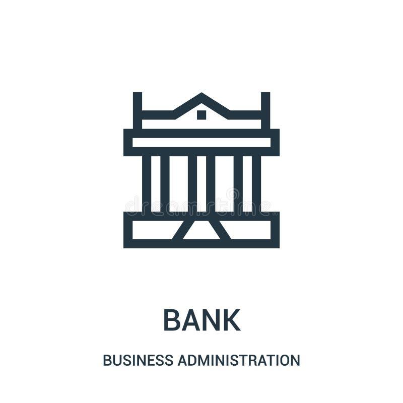 vector del icono del banco de la colección de la administración de empresas L?nea fina ejemplo del vector del icono del esquema d libre illustration