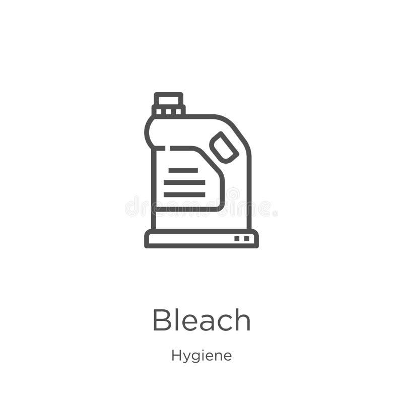 vector del icono del blanqueo de la colección de la higiene Línea fina ejemplo del vector del icono del esquema del blanqueo Esqu stock de ilustración