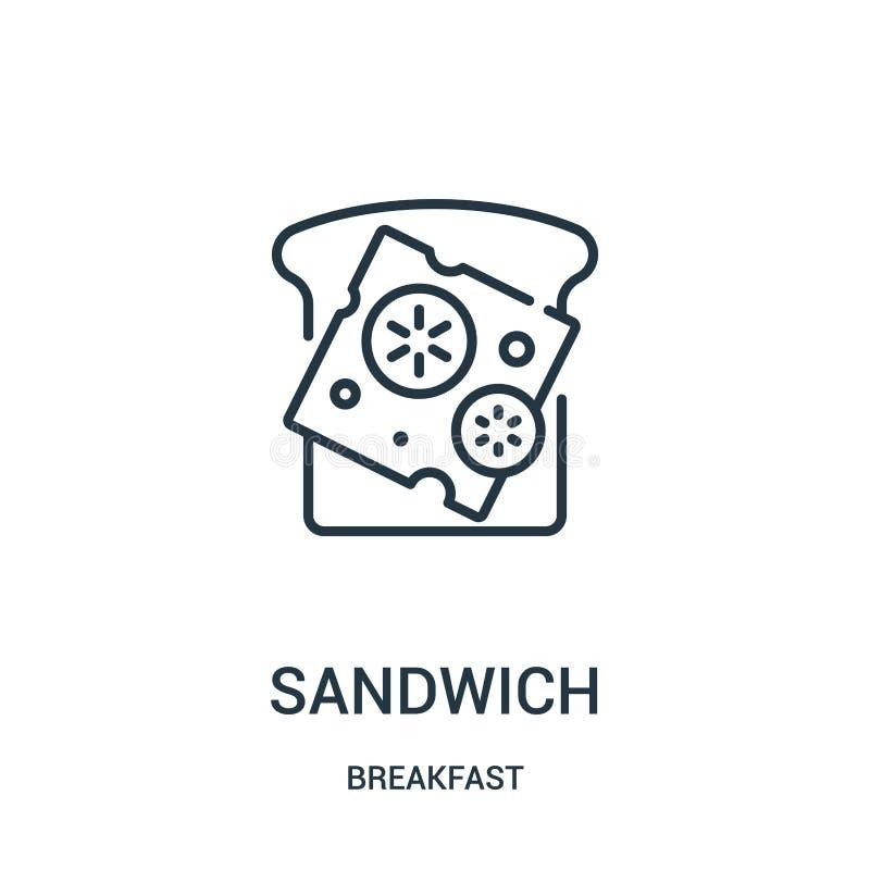 vector del icono del bocadillo de la colección del desayuno Línea fina ejemplo del vector del icono del esquema del bocadillo Sím stock de ilustración