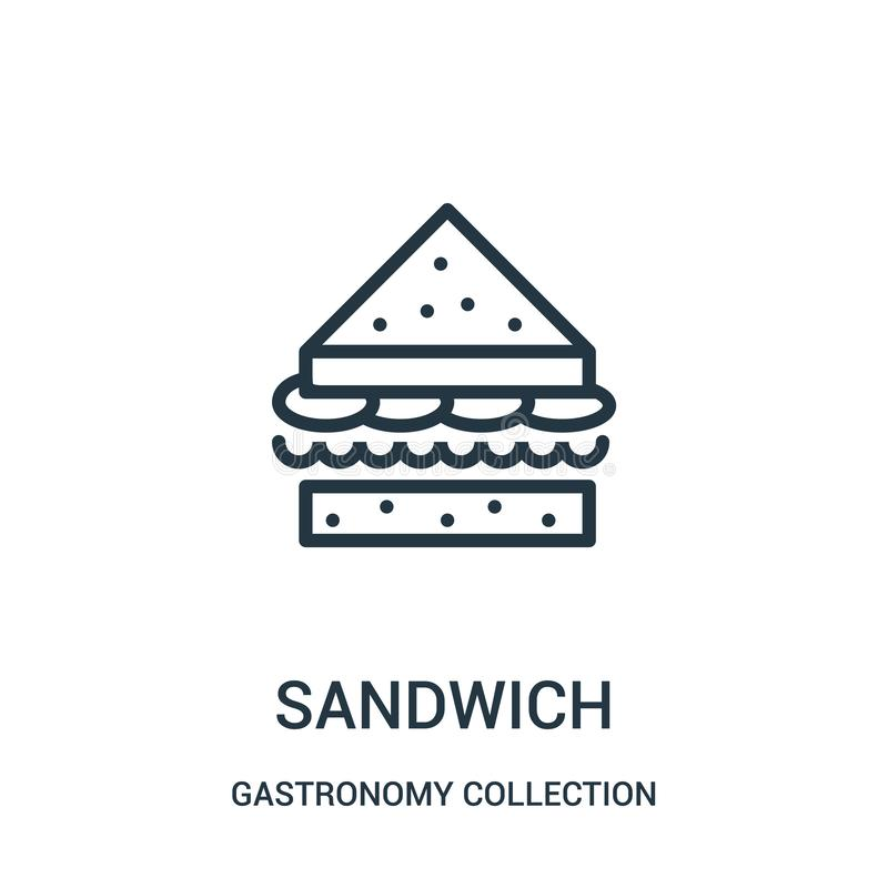 vector del icono del bocadillo de la colección de la colección de la gastronomía L?nea fina ejemplo del vector del icono del esqu ilustración del vector