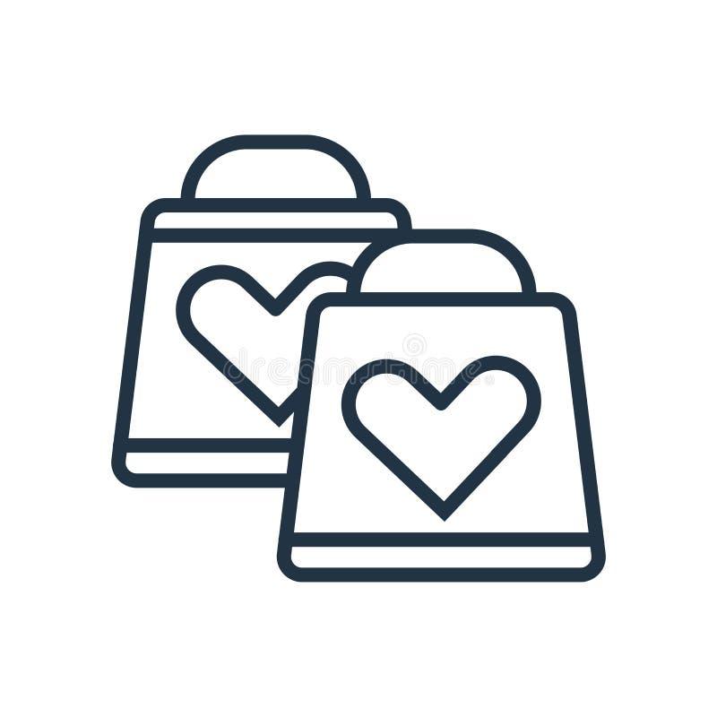 Vector del icono del bolso de compras aislado en el fondo blanco, muestra del bolso de compras ilustración del vector