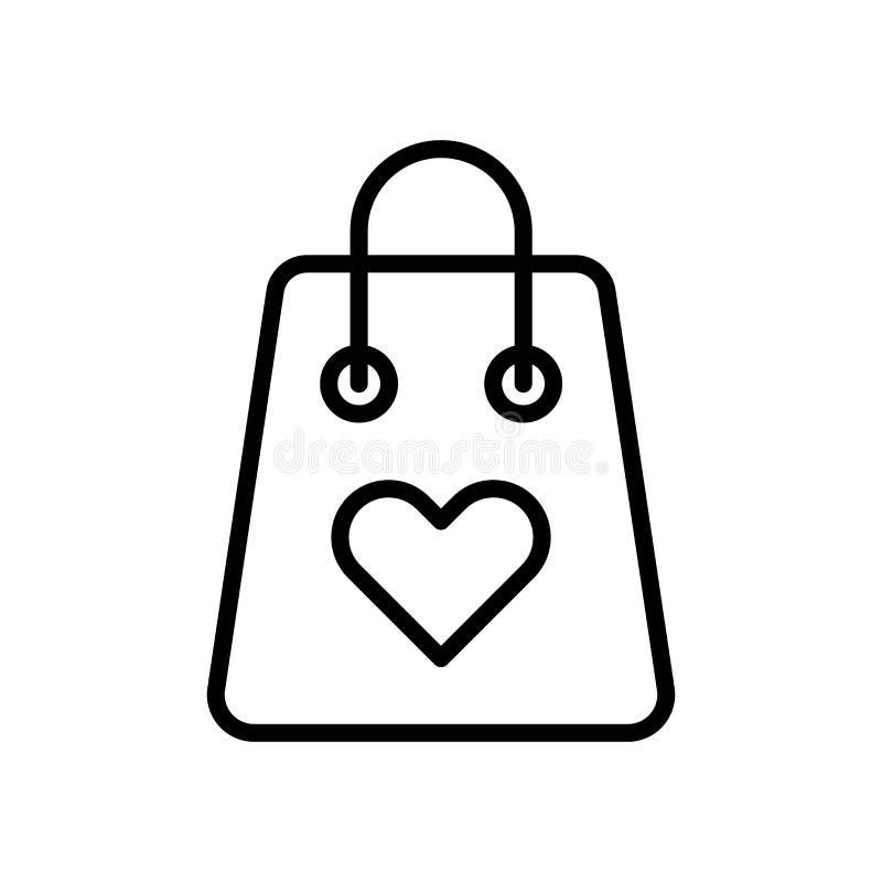 Vector del icono del bolso de compras aislado en la muestra blanca del fondo, del bolso de compras, la línea y elementos del esqu libre illustration
