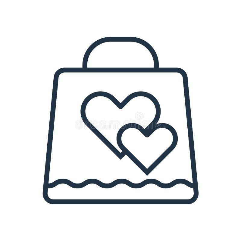 Vector del icono del bolso del regalo aislado en el fondo blanco, muestra del bolso del regalo ilustración del vector