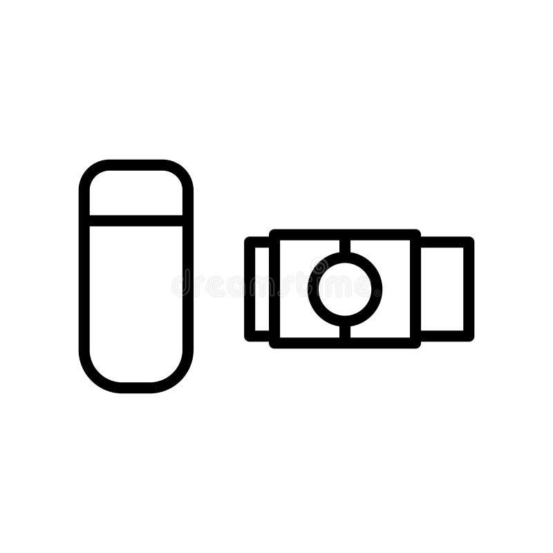 Vector del icono del borrador aislado en el fondo, la muestra del borrador, la línea y los elementos blancos del esquema en estil libre illustration
