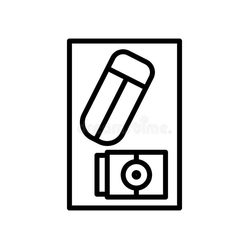 Vector del icono del borrador aislado en el fondo, la muestra del borrador, la línea y los elementos blancos del esquema en estil ilustración del vector