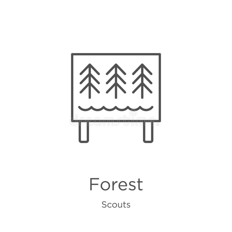 vector del icono del bosque de la colección de los exploradores Línea fina ejemplo del vector del icono del esquema del bosque Es libre illustration