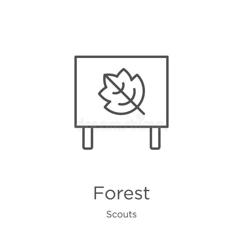 vector del icono del bosque de la colección de los exploradores Línea fina ejemplo del vector del icono del esquema del bosque Es stock de ilustración