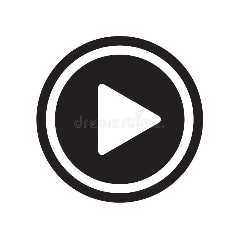 Vector del icono del botón de reproducción aislado en el fondo blanco, butto del juego imagenes de archivo