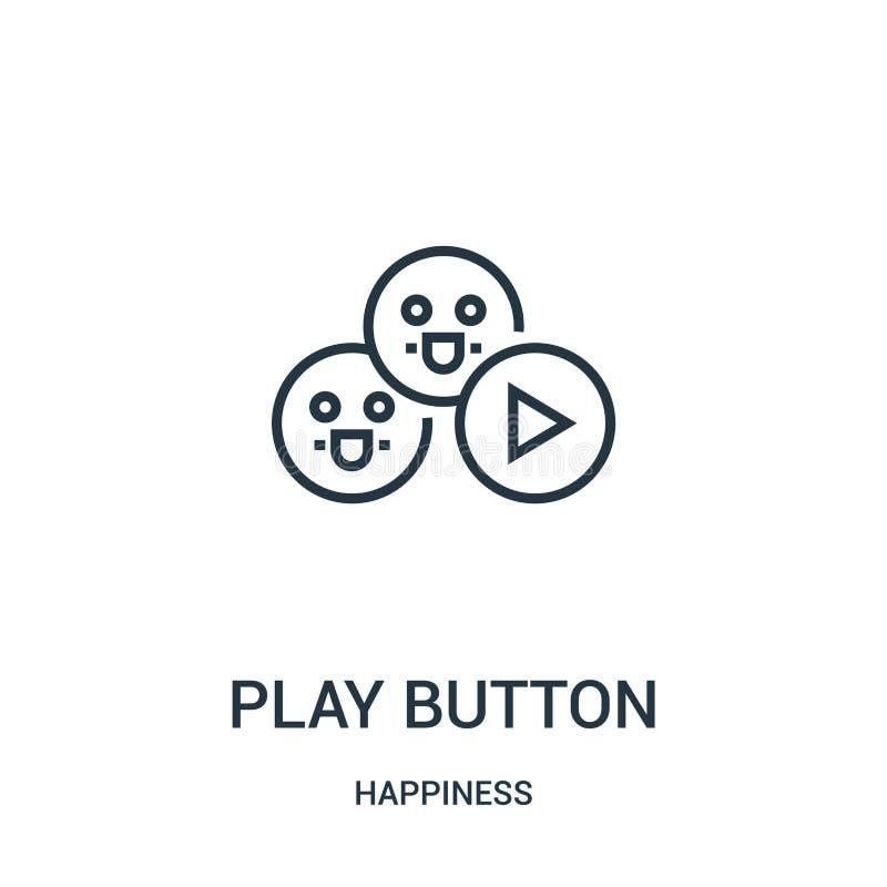 vector del icono del botón de reproducción de la colección de la felicidad Línea fina ejemplo del vector del icono del esquema de stock de ilustración