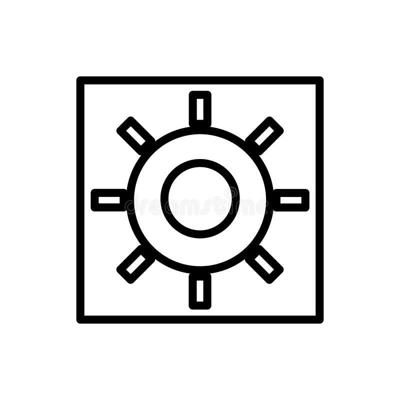 Vector del icono del brillo aislado en el fondo, la muestra del brillo, la línea y los elementos blancos del esquema en estilo li ilustración del vector