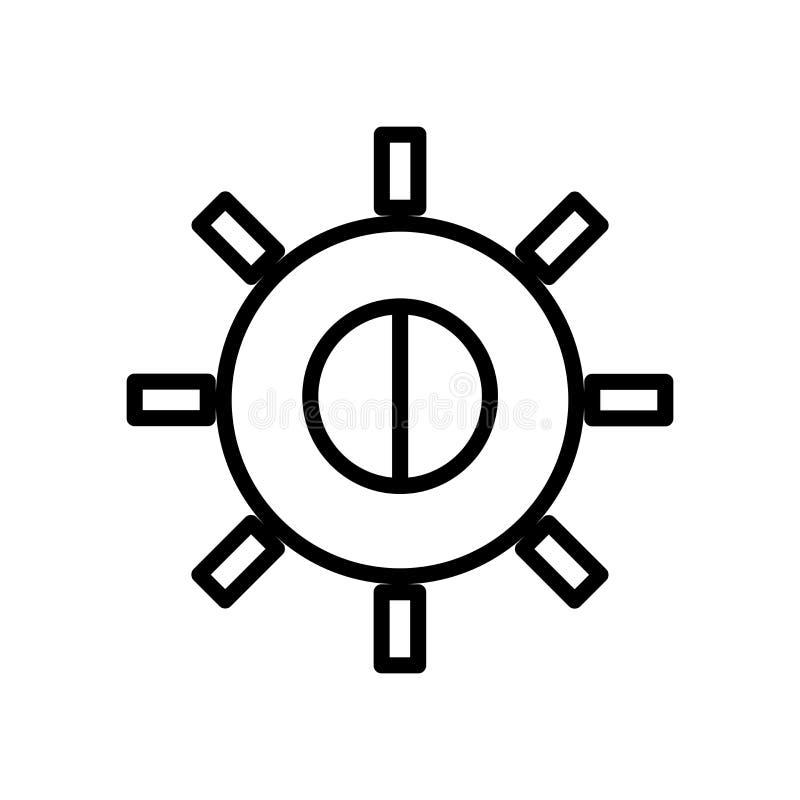 Vector del icono del brillo aislado en el fondo, la muestra del brillo, la línea y los elementos blancos del esquema en estilo li stock de ilustración