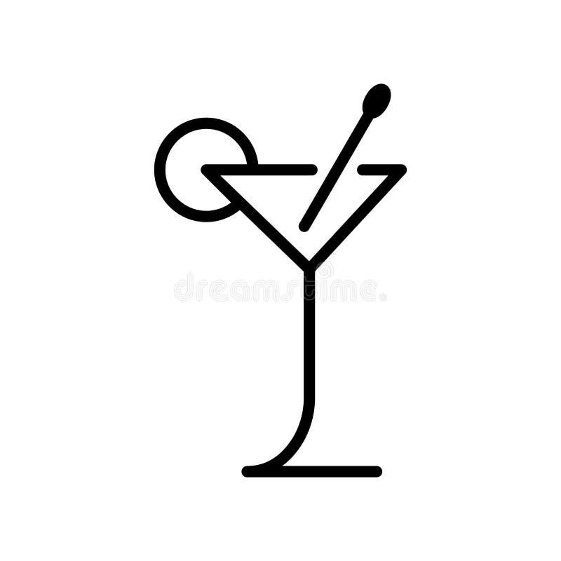 Vector del icono del cóctel aislado en el fondo, la muestra del cóctel, la línea y los elementos blancos del esquema en estilo li ilustración del vector