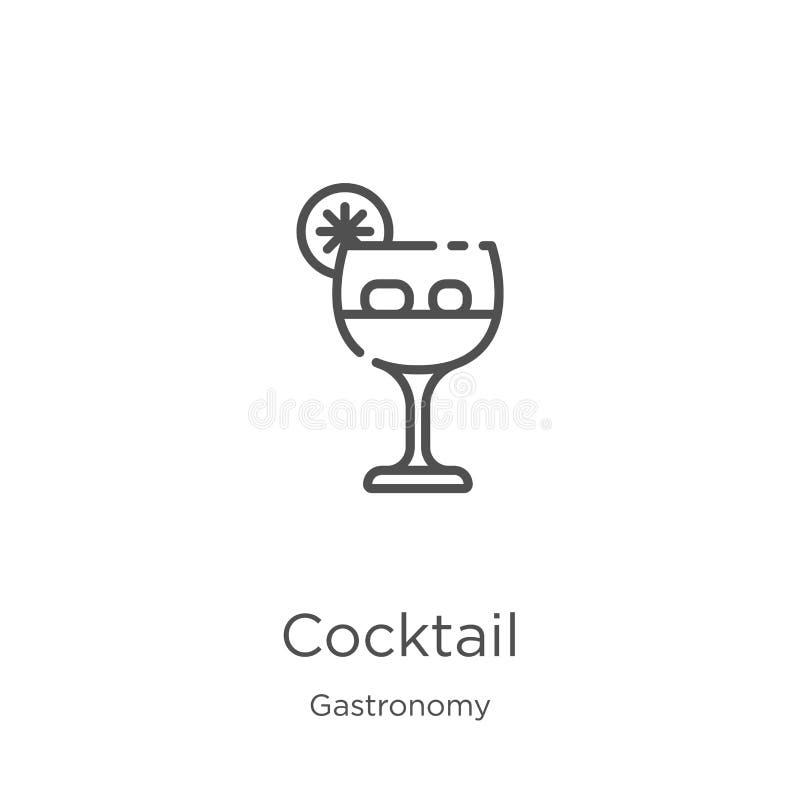 vector del icono del cóctel de la colección de la gastronomía L?nea fina ejemplo del vector del icono del esquema del c?ctel Esqu libre illustration