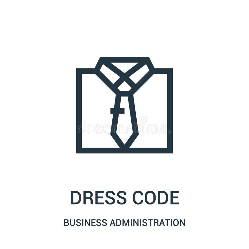 vector del icono del código de vestimenta de la colección de la administración de empresas Línea fina ejemplo del vector del icon stock de ilustración