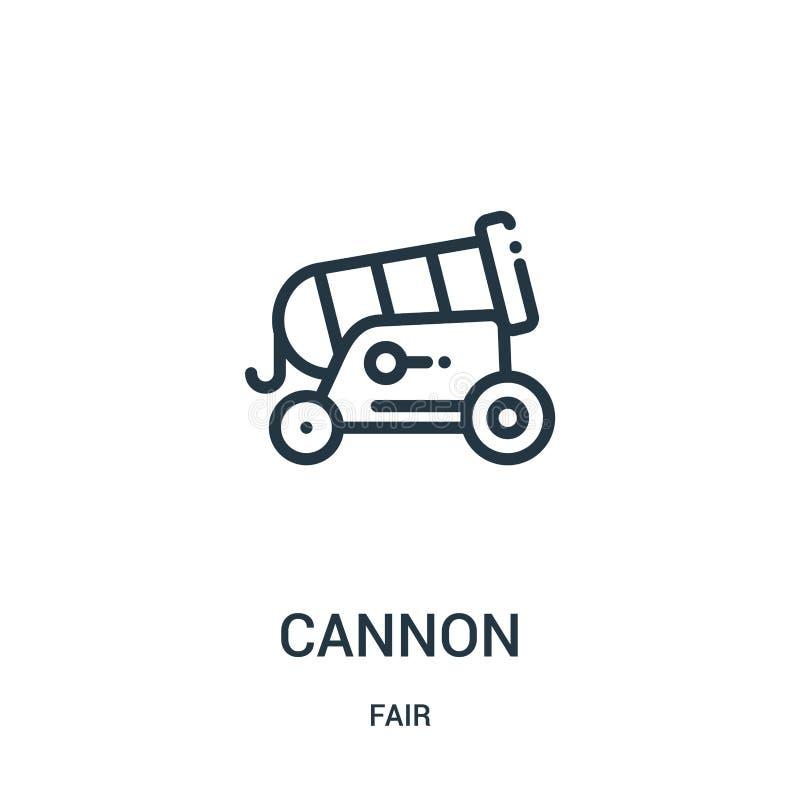 vector del icono del cañón de la colección justa Línea fina ejemplo del vector del icono del esquema del cañón Símbolo linear par ilustración del vector