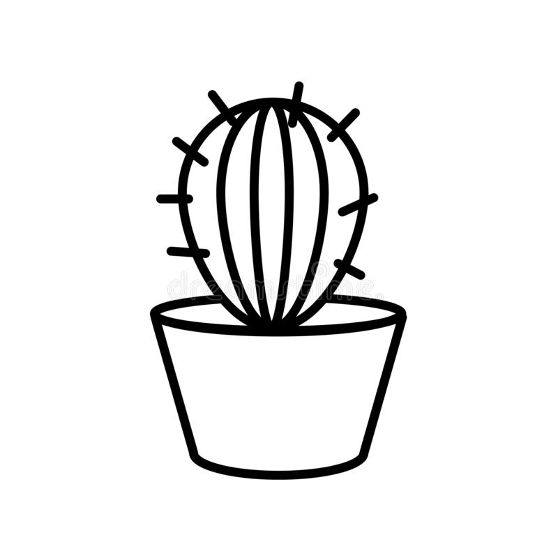 Vector del icono del cactus aislado en el fondo blanco, la muestra del cactus, la línea o la muestra linear, diseño del elemento  libre illustration