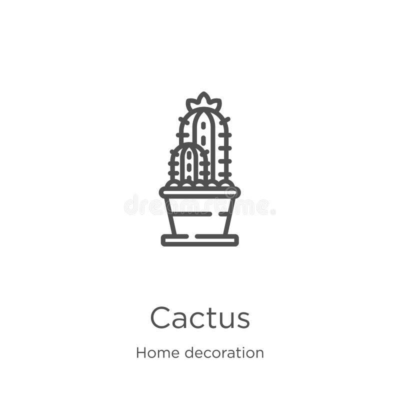 vector del icono del cactus de la colección casera de la decoración Línea fina ejemplo del vector del icono del esquema del cactu stock de ilustración