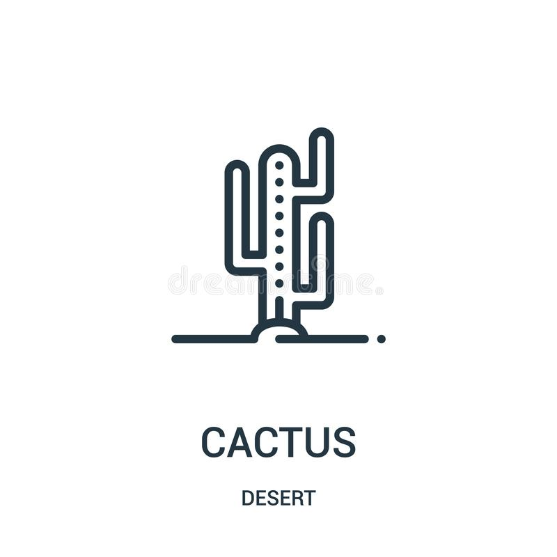 vector del icono del cactus de la colección del desierto Línea fina ejemplo del vector del icono del esquema del cactus Símbolo l stock de ilustración