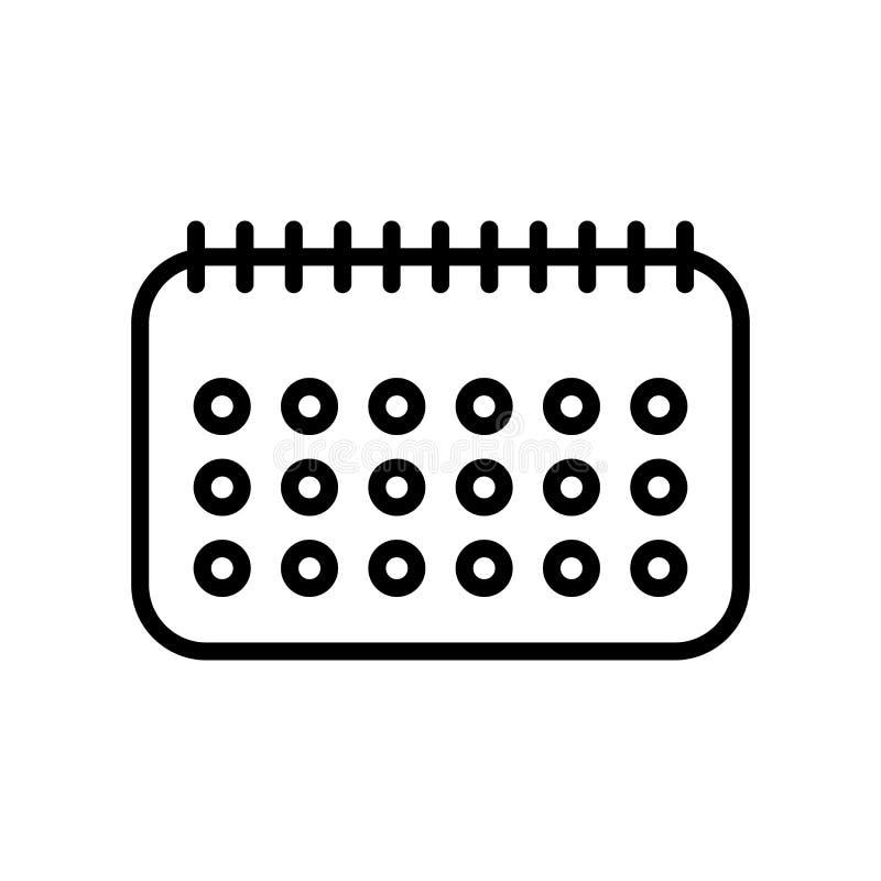 Vector del icono del calendario aislado en el fondo, la muestra del calendario, la línea y los elementos blancos del esquema en e ilustración del vector