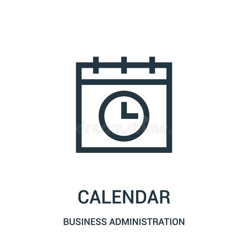 vector del icono del calendario de la colección de la administración de empresas Línea fina ejemplo del vector del icono del esqu stock de ilustración
