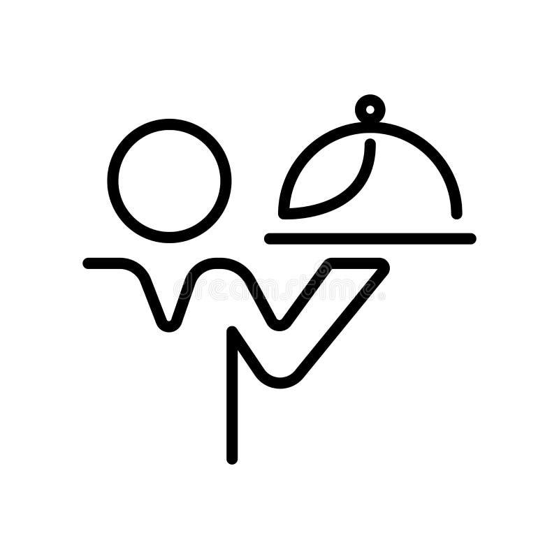 Vector del icono del camarero aislado en el fondo, la muestra del camarero, la línea y los elementos blancos del esquema en estil ilustración del vector