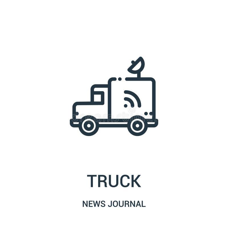 vector del icono del camión de la colección del diario de las noticias Línea fina ejemplo del vector del icono del esquema del ca libre illustration