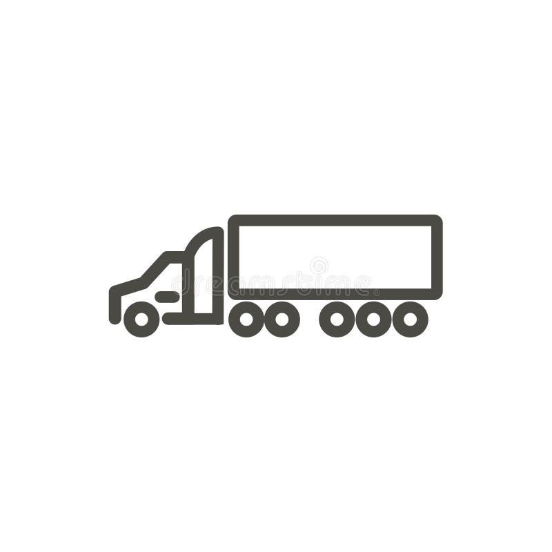 Vector del icono del camión de remolque Línea símbolo del transporte ilustración del vector